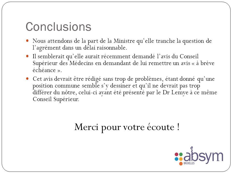 Conclusions Nous attendons de la part de la Ministre quelle tranche la question de lagrément dans un délai raisonnable.