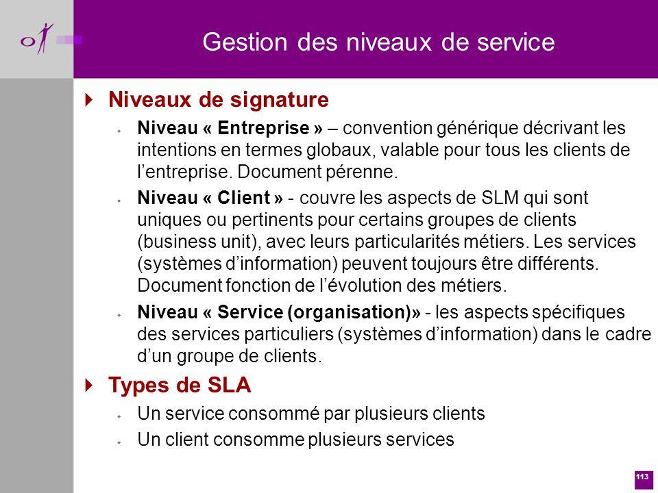 113 Niveaux de signature w Niveau « Entreprise » – convention générique décrivant les intentions en termes globaux, valable pour tous les clients de lentreprise.