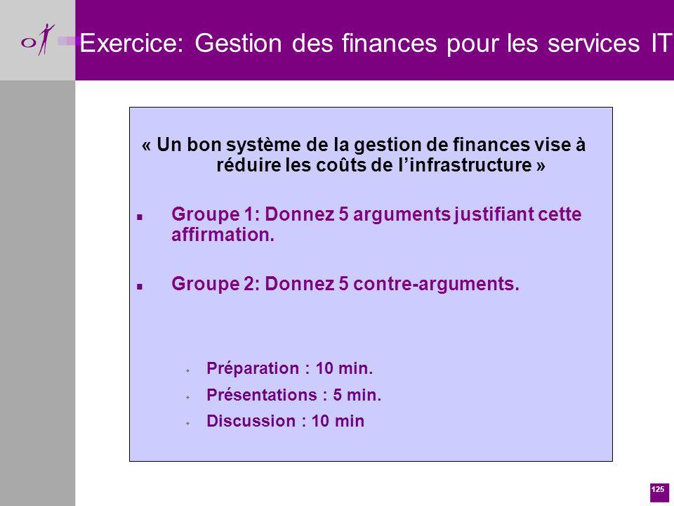 125 « Un bon système de la gestion de finances vise à réduire les coûts de linfrastructure » n Groupe 1: Donnez 5 arguments justifiant cette affirmation.