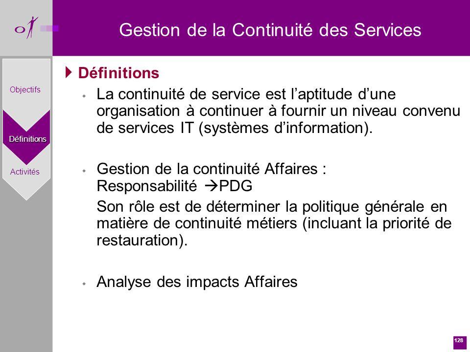 128 Définitions w La continuité de service est laptitude dune organisation à continuer à fournir un niveau convenu de services IT (systèmes dinformation).