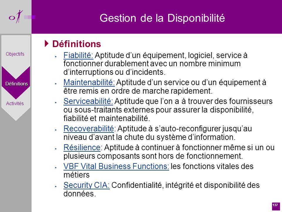 137 Définitions w Fiabilité: Aptitude dun équipement, logiciel, service à fonctionner durablement avec un nombre minimum dinterruptions ou dincidents.