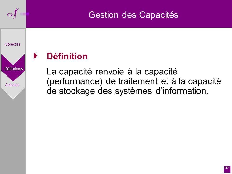 147 Gestion des CapacitésDéfinitions Objectifs Activités Définition La capacité renvoie à la capacité (performance) de traitement et à la capacité de stockage des systèmes dinformation.