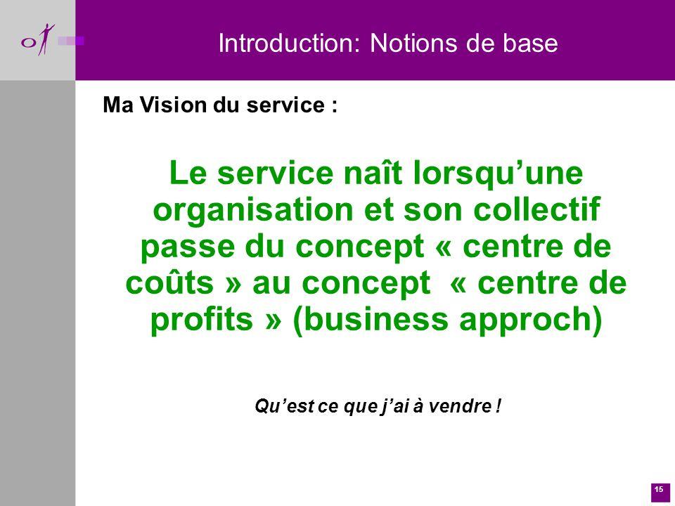 15 Ma Vision du service : Le service naît lorsquune organisation et son collectif passe du concept « centre de coûts » au concept « centre de profits » (business approch) Introduction: Notions de base Quest ce que jai à vendre !