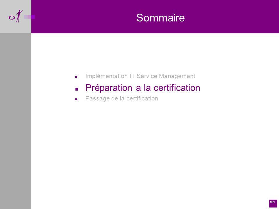161 n Implémentation IT Service Management n Préparation a la certification n Passage de la certification Sommaire