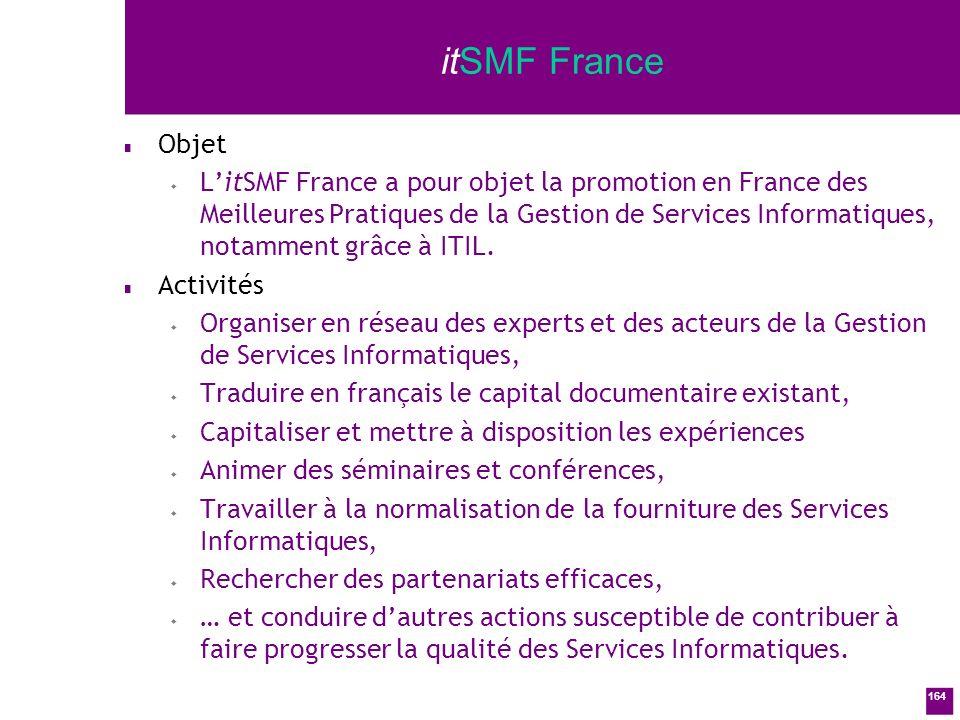 164 itSMF France n Objet w LitSMF France a pour objet la promotion en France des Meilleures Pratiques de la Gestion de Services Informatiques, notamment grâce à ITIL.
