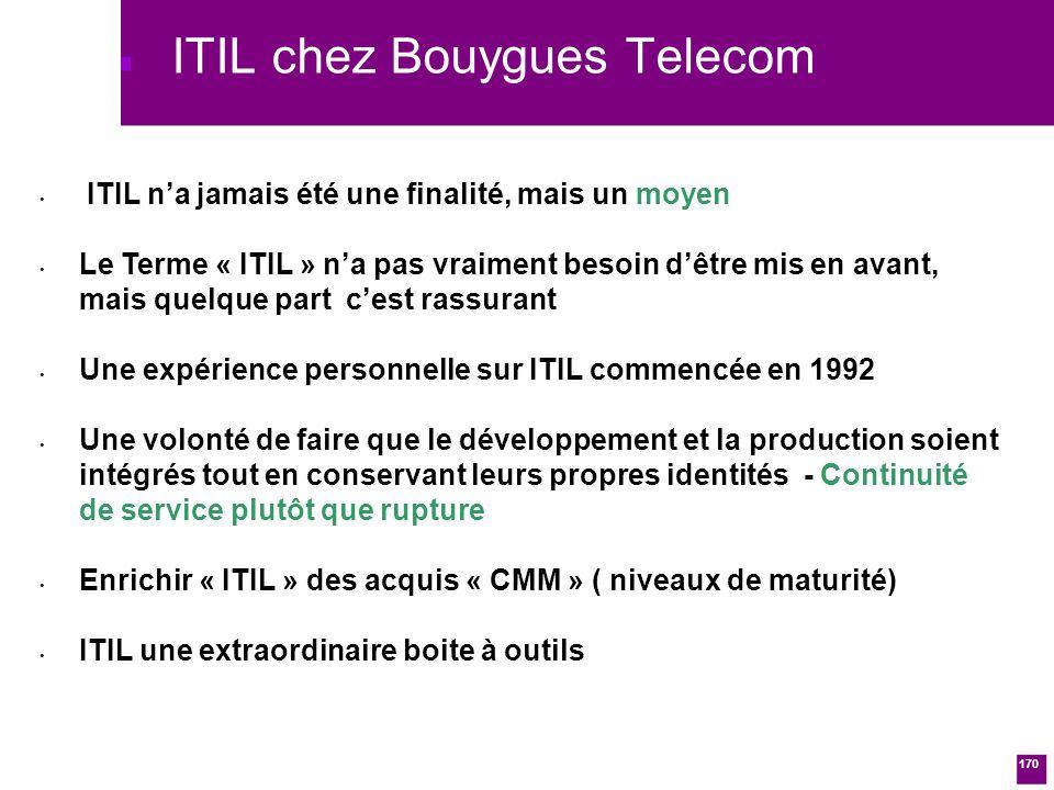 170 ITIL chez Bouygues Telecom ITIL na jamais été une finalité, mais un moyen Le Terme « ITIL » na pas vraiment besoin dêtre mis en avant, mais quelque part cest rassurant Une expérience personnelle sur ITIL commencée en 1992 Une volonté de faire que le développement et la production soient intégrés tout en conservant leurs propres identités - Continuité de service plutôt que rupture Enrichir « ITIL » des acquis « CMM » ( niveaux de maturité) ITIL une extraordinaire boite à outils