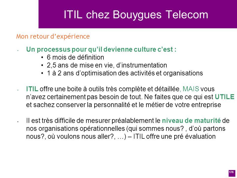 178 ITIL chez Bouygues Telecom Un processus pour quil devienne culture cest : 6 mois de définition 2,5 ans de mise en vie, dinstrumentation 1 à 2 ans doptimisation des activités et organisations ITIL offre une boite à outils très complète et détaillée, MAIS vous navez certainement pas besoin de tout.