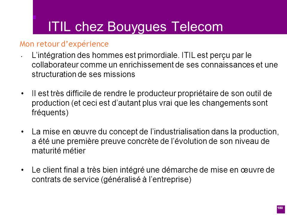 180 ITIL chez Bouygues Telecom Lintégration des hommes est primordiale.