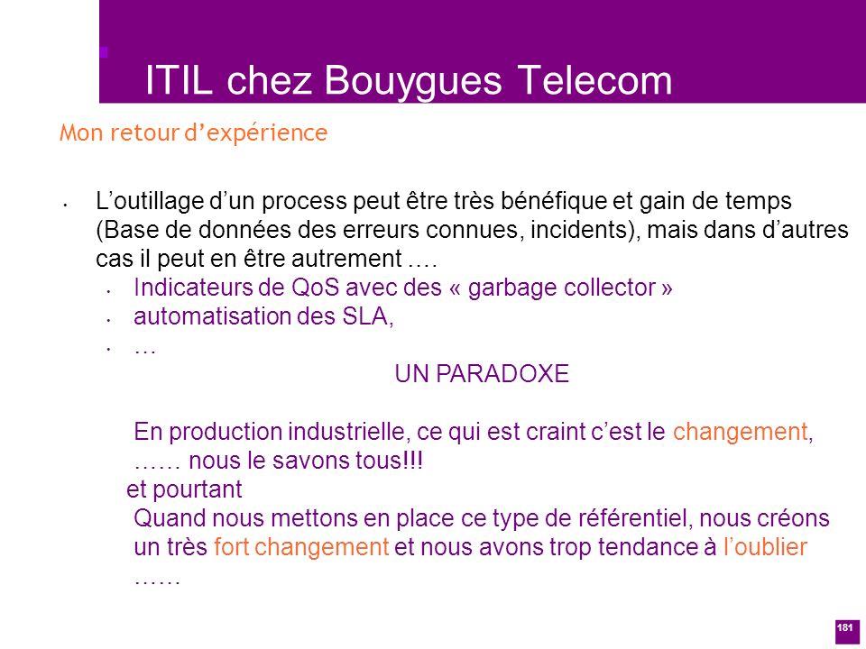 181 ITIL chez Bouygues Telecom Loutillage dun process peut être très bénéfique et gain de temps (Base de données des erreurs connues, incidents), mais dans dautres cas il peut en être autrement ….