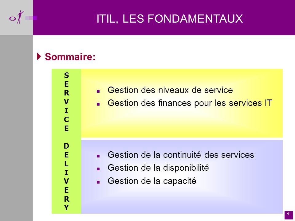 4 Sommaire: n Gestion des niveaux de service n Gestion des finances pour les services IT n Gestion de la continuité des services n Gestion de la disponibilité n Gestion de la capacité ITIL, LES FONDAMENTAUX SERVICEDELIVERYSERVICEDELIVERY