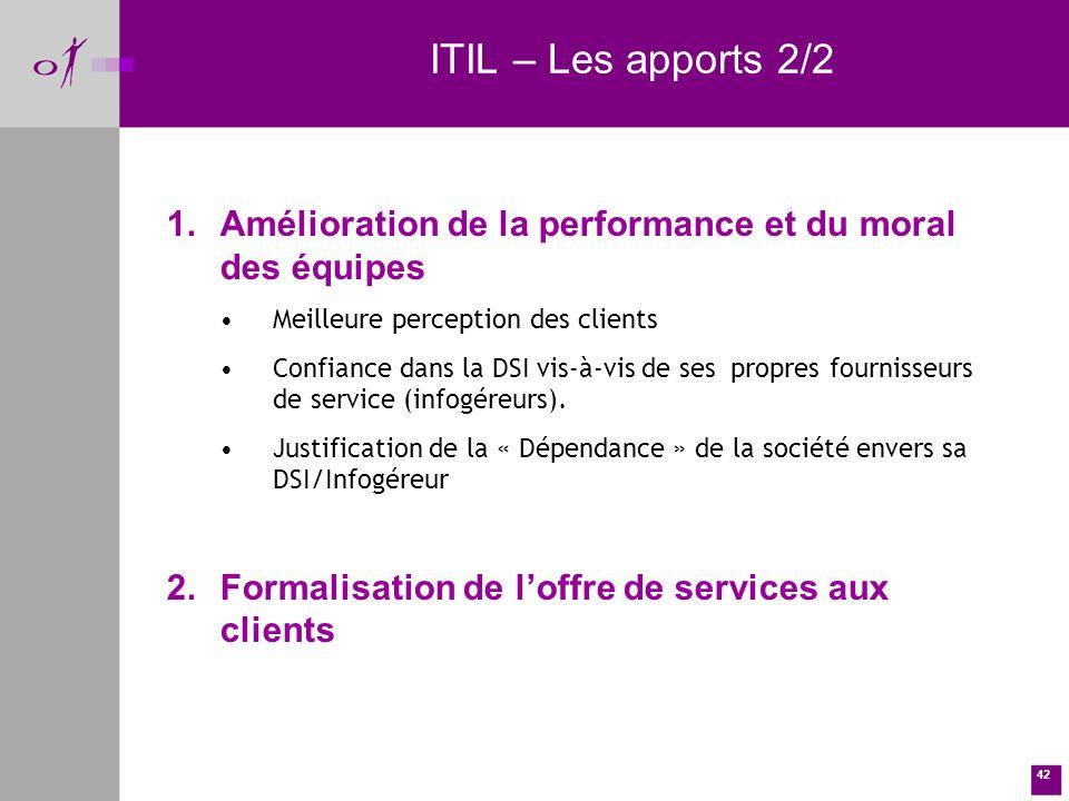 42 ITIL – Les apports 2/2 1.Amélioration de la performance et du moral des équipes Meilleure perception des clients Confiance dans la DSI vis-à-vis de ses propres fournisseurs de service (infogéreurs).