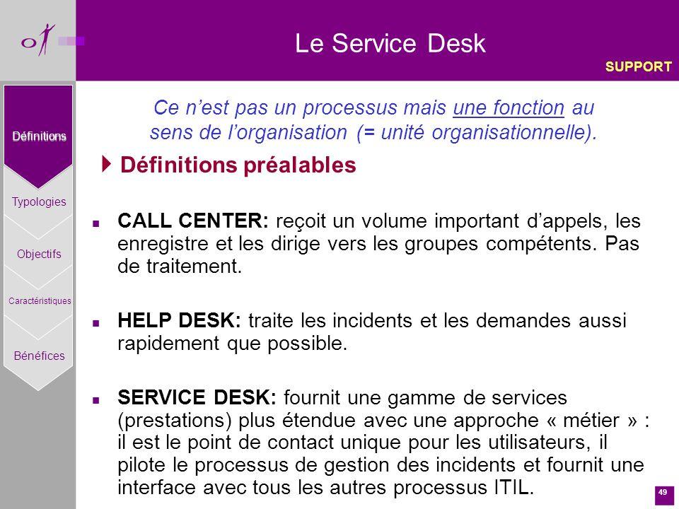 49 Le Service Desk Définitions préalables n CALL CENTER: reçoit un volume important dappels, les enregistre et les dirige vers les groupes compétents.