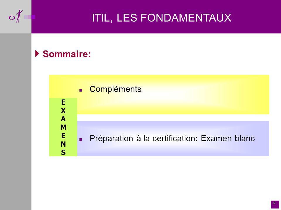 5 Sommaire: n Compléments n Préparation à la certification: Examen blanc EXAMENSEXAMENS