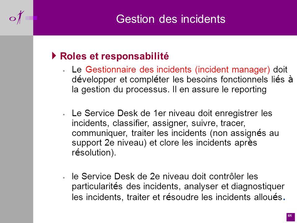 61 Gestion des incidents Roles et responsabilité Le Gestionnaire des incidents (incident manager) doit d é velopper et compl é ter les besoins fonctionnels li é s à la gestion du processus.