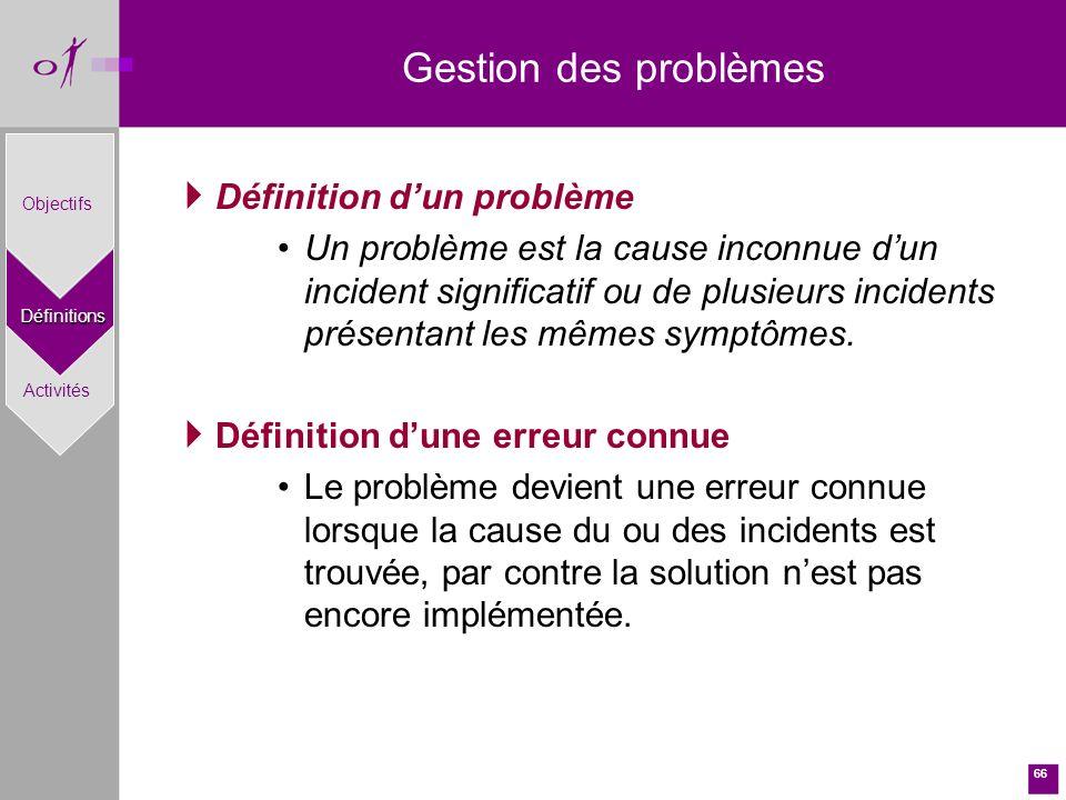 66 Définition dun problème Un problème est la cause inconnue dun incident significatif ou de plusieurs incidents présentant les mêmes symptômes.