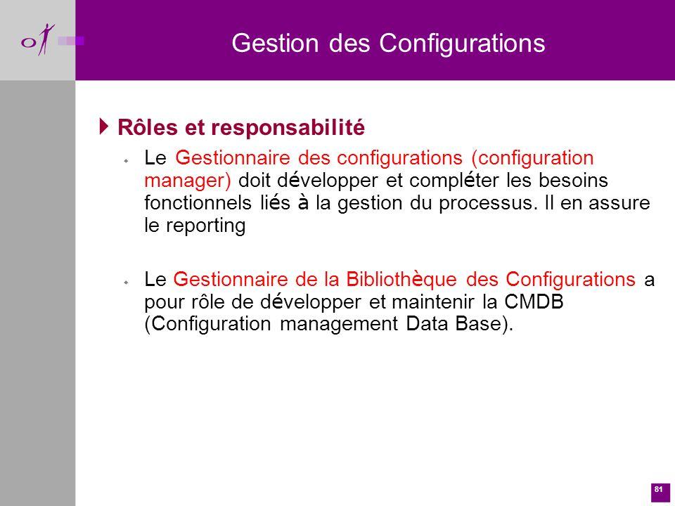 81 Rôles et responsabilité Le Gestionnaire des configurations (configuration manager) doit d é velopper et compl é ter les besoins fonctionnels li é s à la gestion du processus.