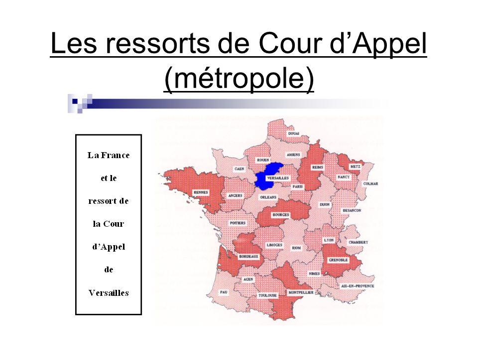 Les ressorts de Cour dAppel (métropole)