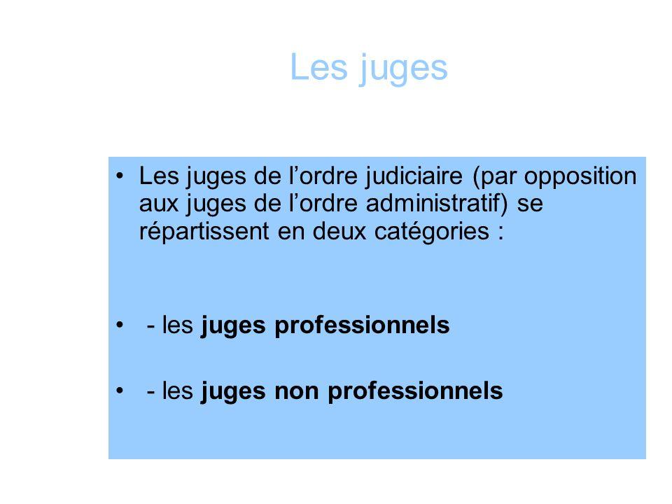 Les juges Les juges de lordre judiciaire (par opposition aux juges de lordre administratif) se répartissent en deux catégories : - les juges professio