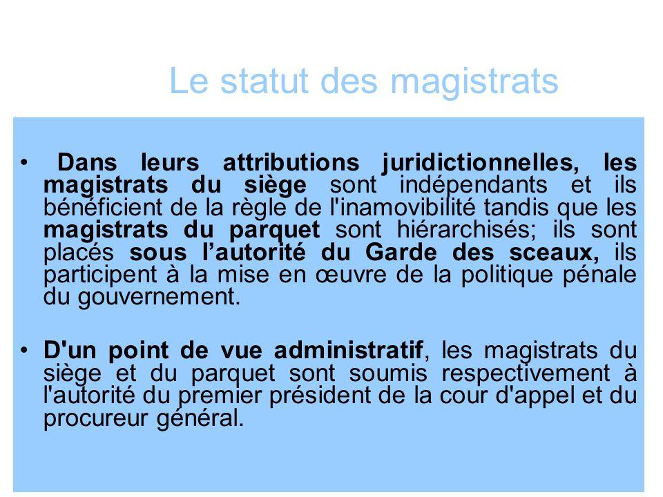 Le statut des magistrats Dans leurs attributions juridictionnelles, les magistrats du siège sont indépendants et ils bénéficient de la règle de l'inam