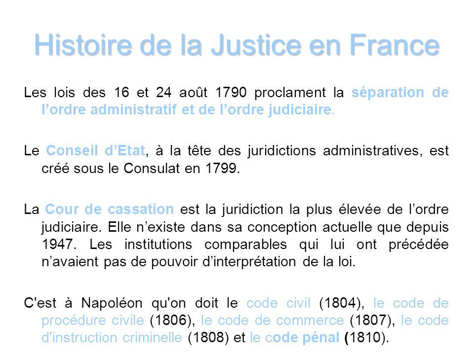 Histoire de la Justice en France Les lois des 16 et 24 août 1790 proclament la séparation de lordre administratif et de lordre judiciaire. Le Conseil