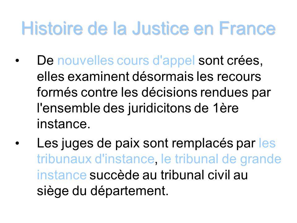 Histoire de la Justice en France De nouvelles cours d'appel sont crées, elles examinent désormais les recours formés contre les décisions rendues par