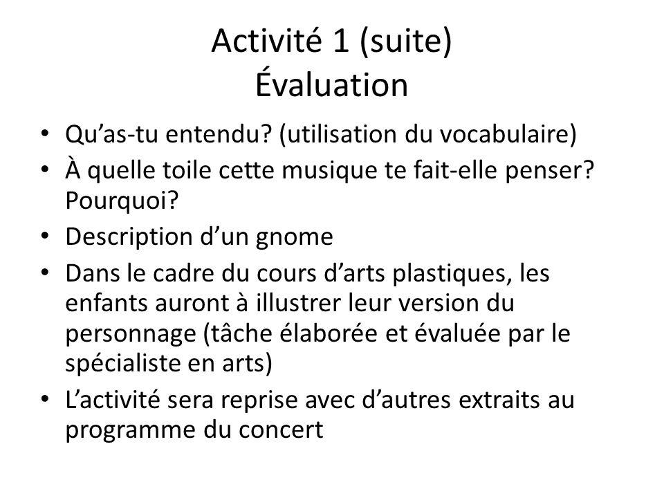 Activité 1 (suite) Évaluation Quas-tu entendu? (utilisation du vocabulaire) À quelle toile cette musique te fait-elle penser? Pourquoi? Description du