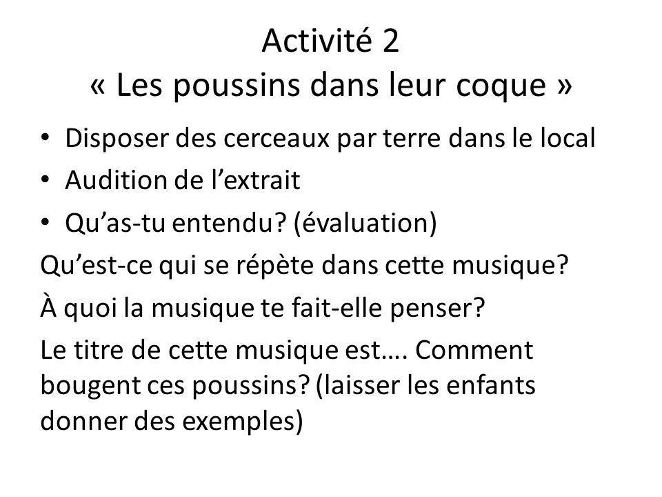 Activité 2 « Les poussins dans leur coque » Disposer des cerceaux par terre dans le local Audition de lextrait Quas-tu entendu.