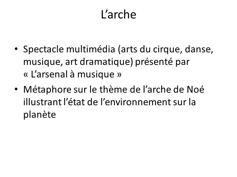 Larche Spectacle multimédia (arts du cirque, danse, musique, art dramatique) présenté par « Larsenal à musique » Métaphore sur le thème de larche de Noé illustrant létat de lenvironnement sur la planète