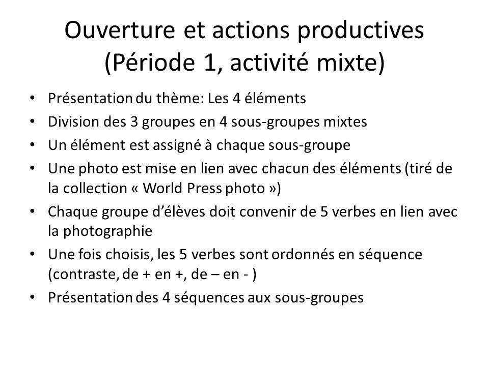 Ouverture et actions productives (Période 1, activité mixte) Présentation du thème: Les 4 éléments Division des 3 groupes en 4 sous-groupes mixtes Un élément est assigné à chaque sous-groupe Une photo est mise en lien avec chacun des éléments (tiré de la collection « World Press photo ») Chaque groupe délèves doit convenir de 5 verbes en lien avec la photographie Une fois choisis, les 5 verbes sont ordonnés en séquence (contraste, de + en +, de – en - ) Présentation des 4 séquences aux sous-groupes