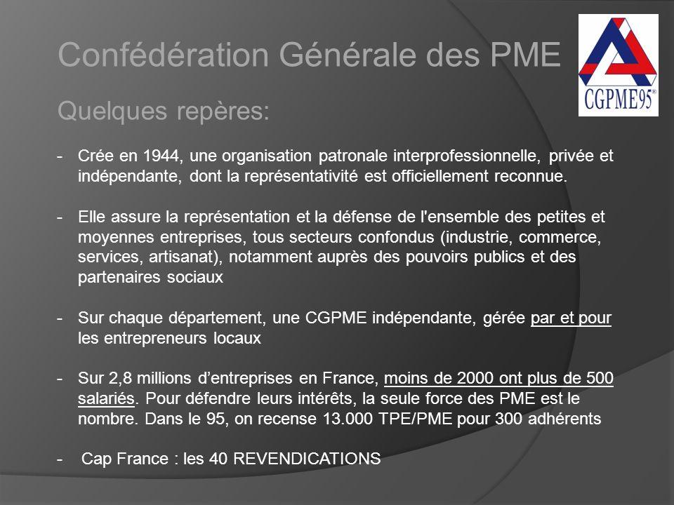 Confédération Générale des PME Quelques repères: -Crée en 1944, une organisation patronale interprofessionnelle, privée et indépendante, dont la représentativité est officiellement reconnue.