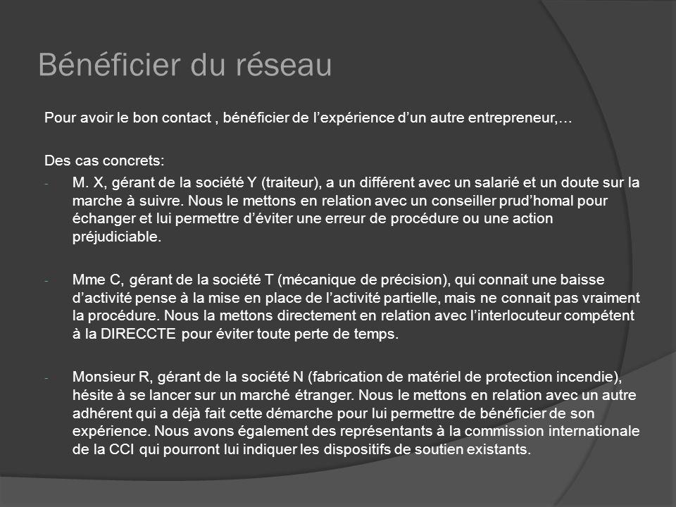 Bénéficier du réseau Pour avoir le bon contact, bénéficier de lexpérience dun autre entrepreneur,… Des cas concrets: - M. X, gérant de la société Y (t