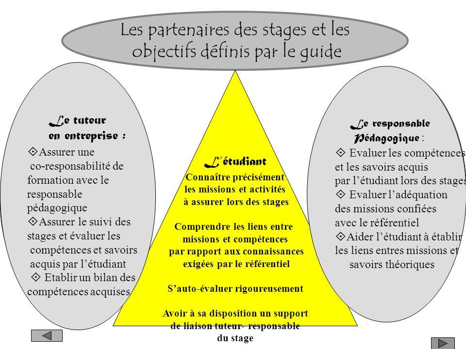 Les partenaires des stages Léquipe pédagogiq ue Létudiant (e) Lentreprise partenaire