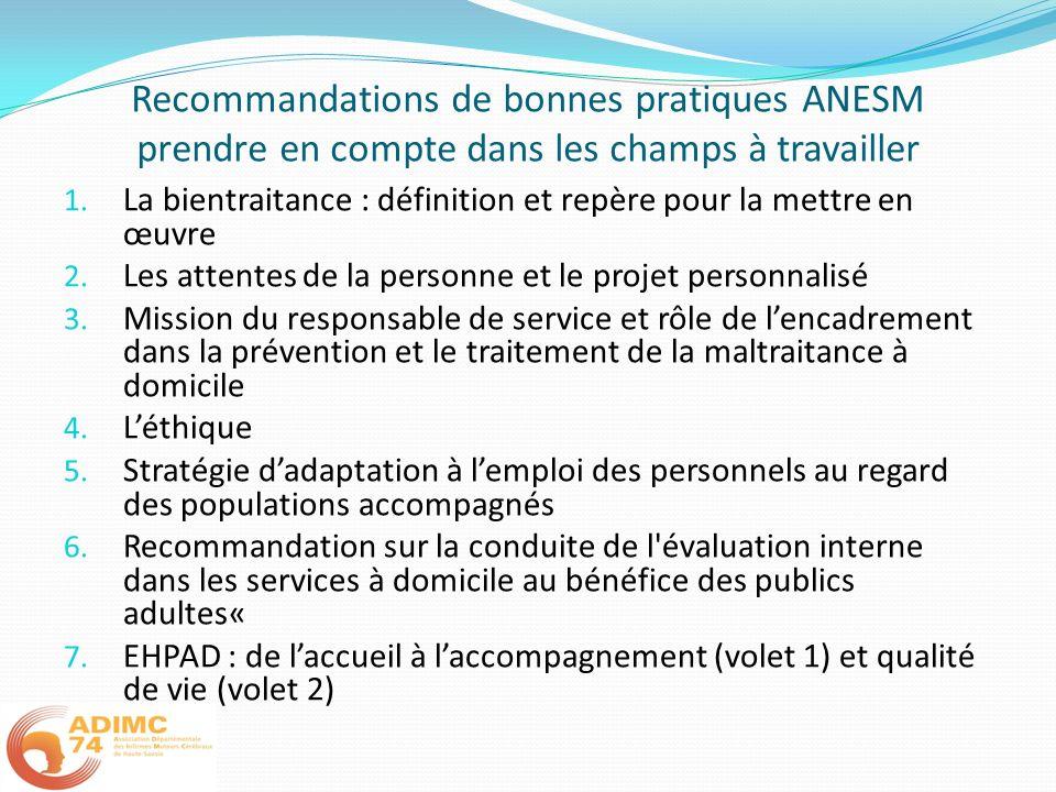 Recommandations de bonnes pratiques ANESM prendre en compte dans les champs à travailler 1. La bientraitance : définition et repère pour la mettre en