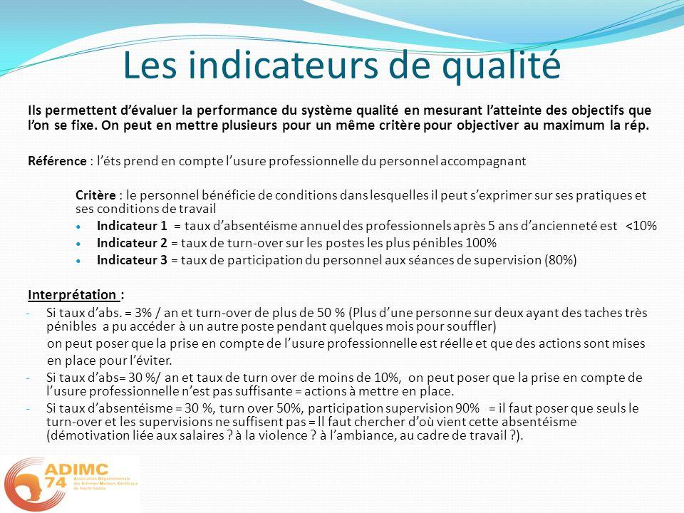 Les indicateurs de qualité Ils permettent dévaluer la performance du système qualité en mesurant latteinte des objectifs que lon se fixe. On peut en m