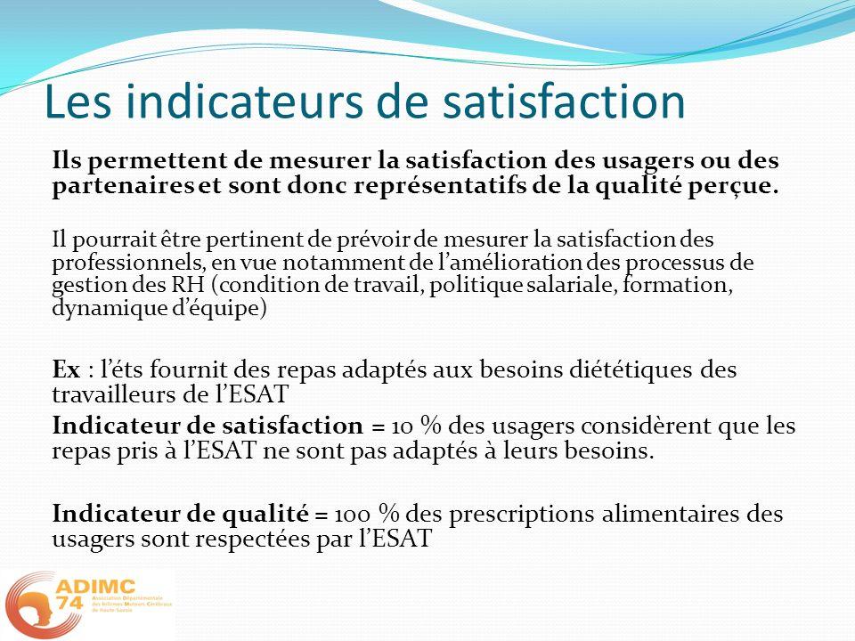 Les indicateurs de satisfaction Ils permettent de mesurer la satisfaction des usagers ou des partenaires et sont donc représentatifs de la qualité per