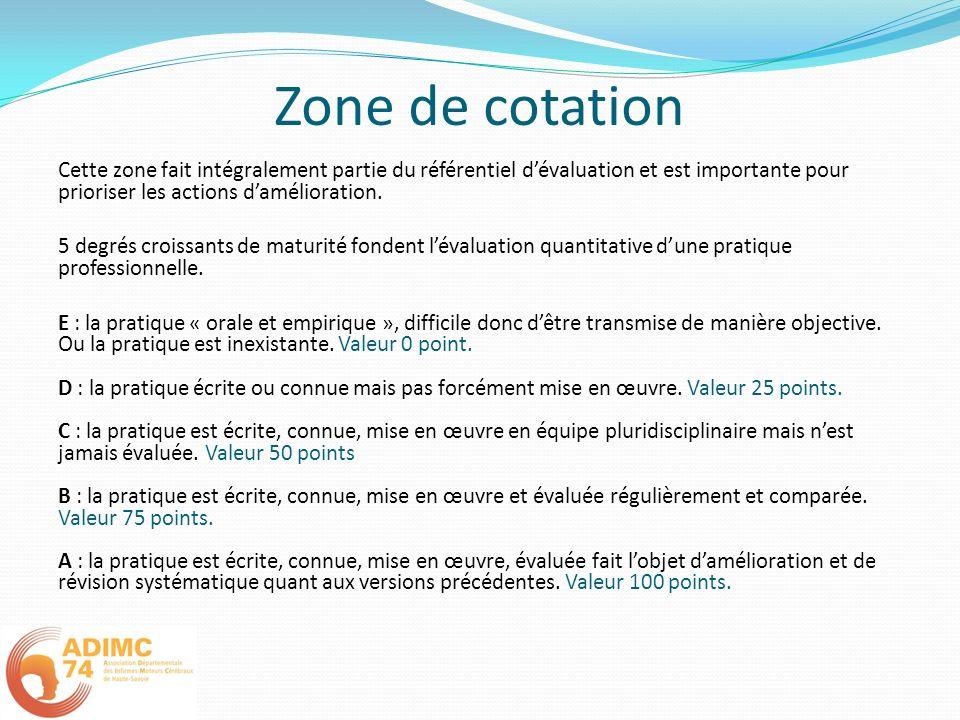 Zone de cotation Cette zone fait intégralement partie du référentiel dévaluation et est importante pour prioriser les actions damélioration. 5 degrés