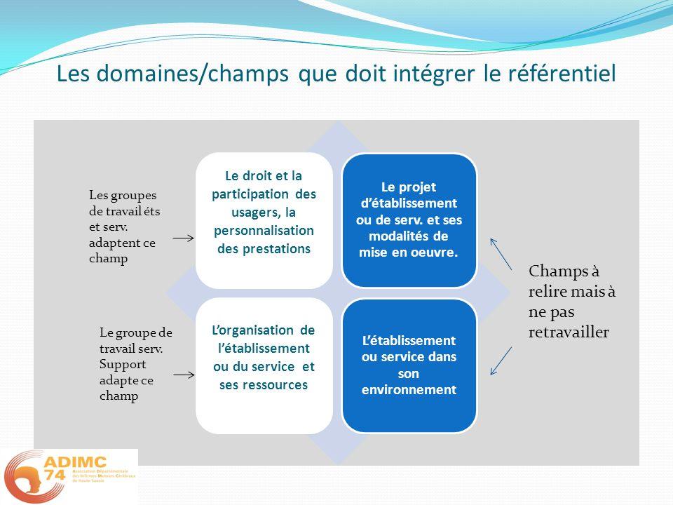 Les domaines/champs que doit intégrer le référentiel Le droit et la participation des usagers, la personnalisation des prestations Le projet détabliss