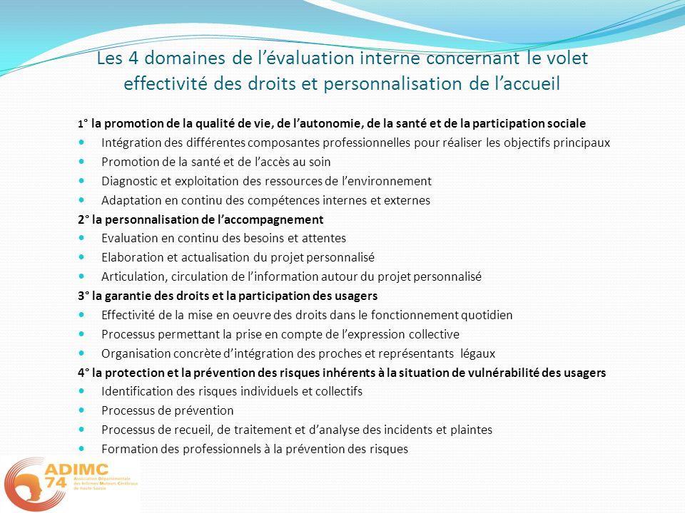 Les 4 domaines de lévaluation interne concernant le volet effectivité des droits et personnalisation de laccueil 1 ° la promotion de la qualité de vie