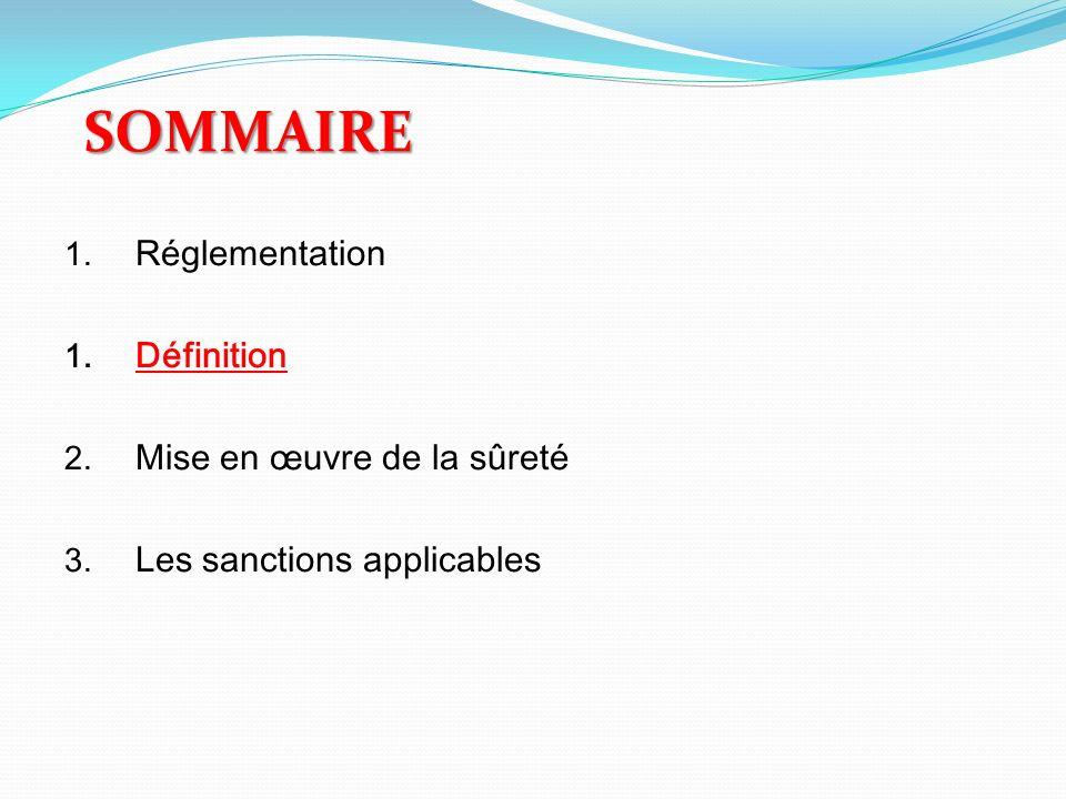 SOMMAIRE 1. Réglementation 1. Définition 2. Mise en œuvre de la sûreté 3. Les sanctions applicables