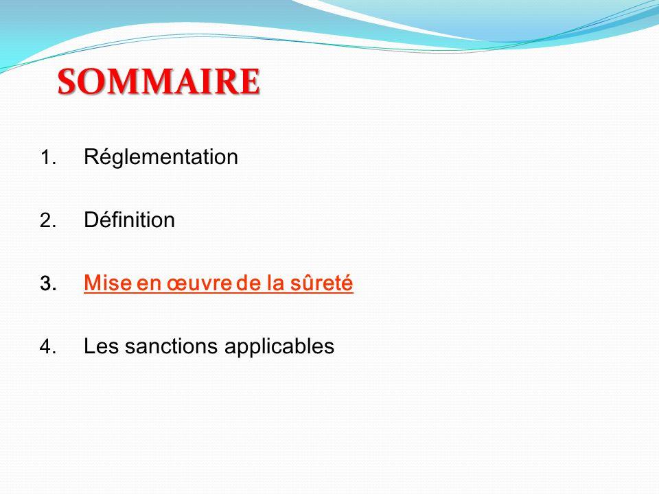 SOMMAIRE 1. Réglementation 2. Définition 3. Mise en œuvre de la sûreté 4. Les sanctions applicables