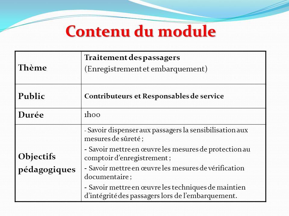 Contenu du module Thème Traitement des passagers (Enregistrement et embarquement) Public Contributeurs et Responsables de service Durée 1h00 Objectifs