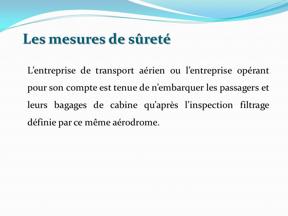 Les mesures de sûreté Lentreprise de transport aérien ou lentreprise opérant pour son compte est tenue de nembarquer les passagers et leurs bagages de