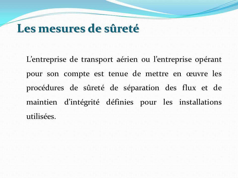 Les mesures de sûreté Lentreprise de transport aérien ou lentreprise opérant pour son compte est tenue de mettre en œuvre les procédures de sûreté de