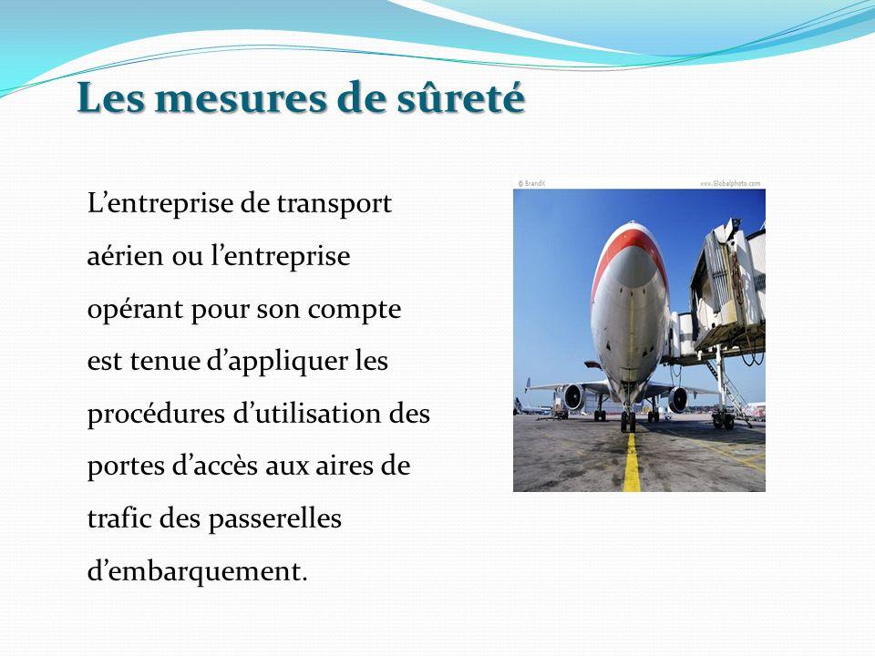 Les mesures de sûreté Lentreprise de transport aérien ou lentreprise opérant pour son compte est tenue dappliquer les procédures dutilisation des port