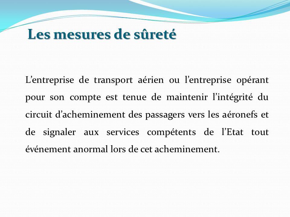 Les mesures de sûreté Lentreprise de transport aérien ou lentreprise opérant pour son compte est tenue de maintenir lintégrité du circuit dacheminemen