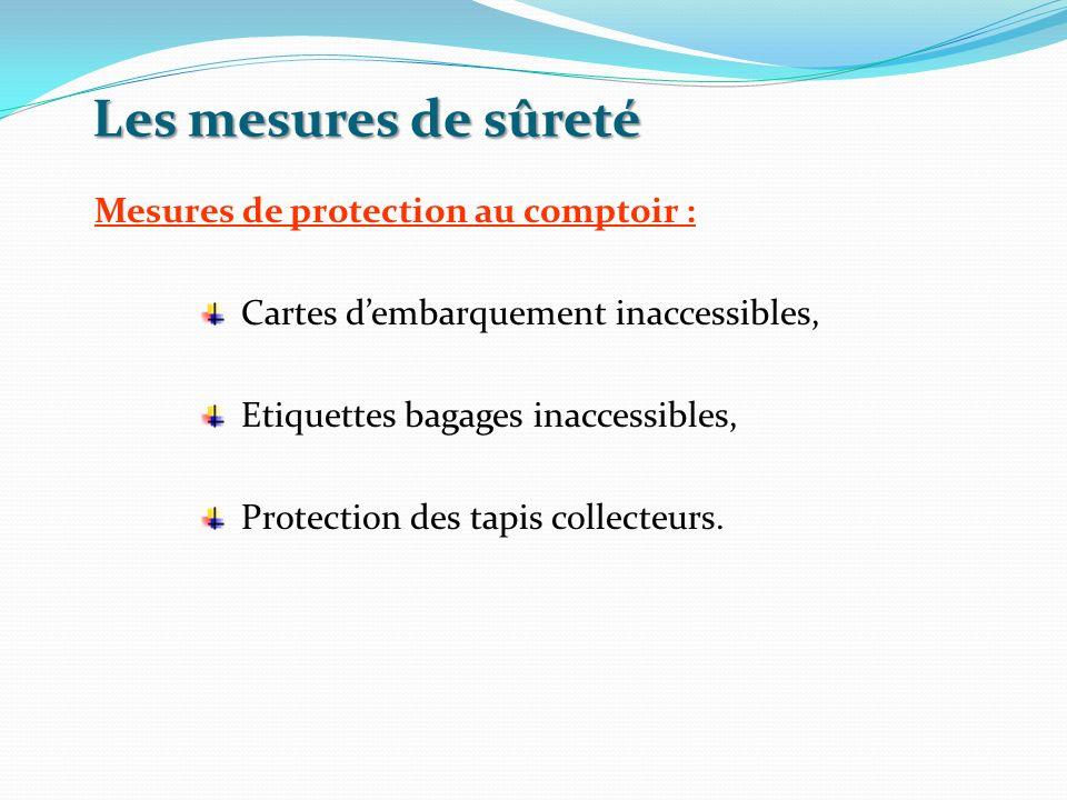 Les mesures de sûreté Mesures de protection au comptoir : Cartes dembarquement inaccessibles, Etiquettes bagages inaccessibles, Protection des tapis c