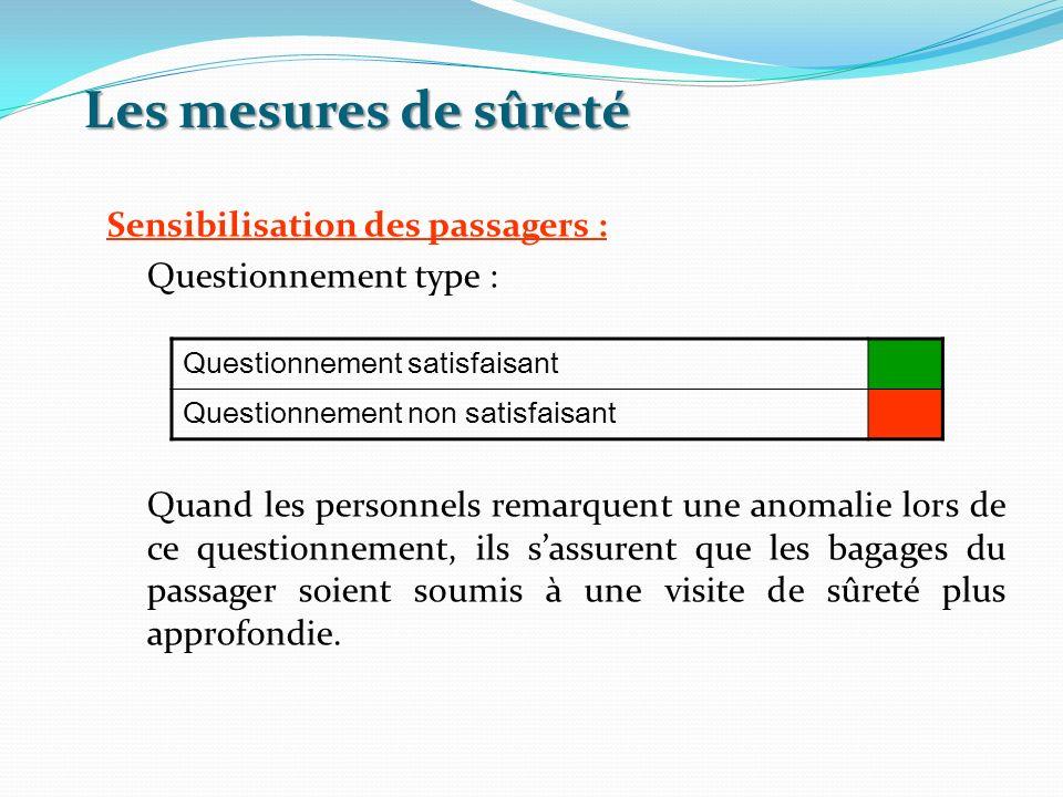 Les mesures de sûreté Questionnement satisfaisant Questionnement non satisfaisant Sensibilisation des passagers : Questionnement type : Quand les pers