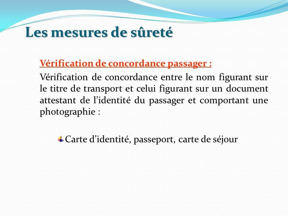 Les mesures de sûreté Vérification de concordance passager : Vérification de concordance entre le nom figurant sur le titre de transport et celui figu