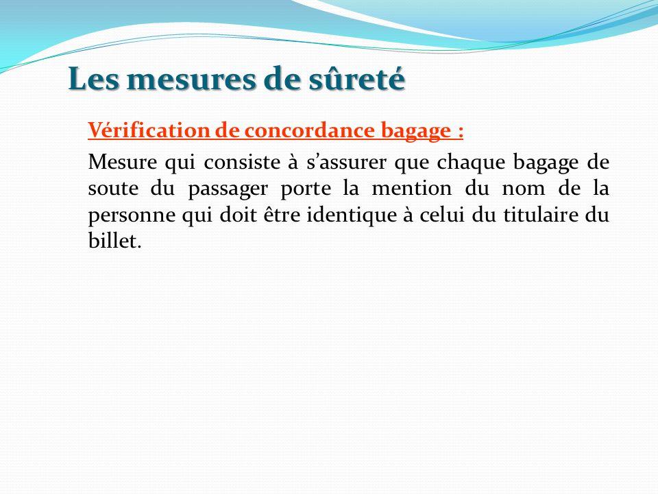 Les mesures de sûreté Vérification de concordance bagage : Mesure qui consiste à sassurer que chaque bagage de soute du passager porte la mention du n