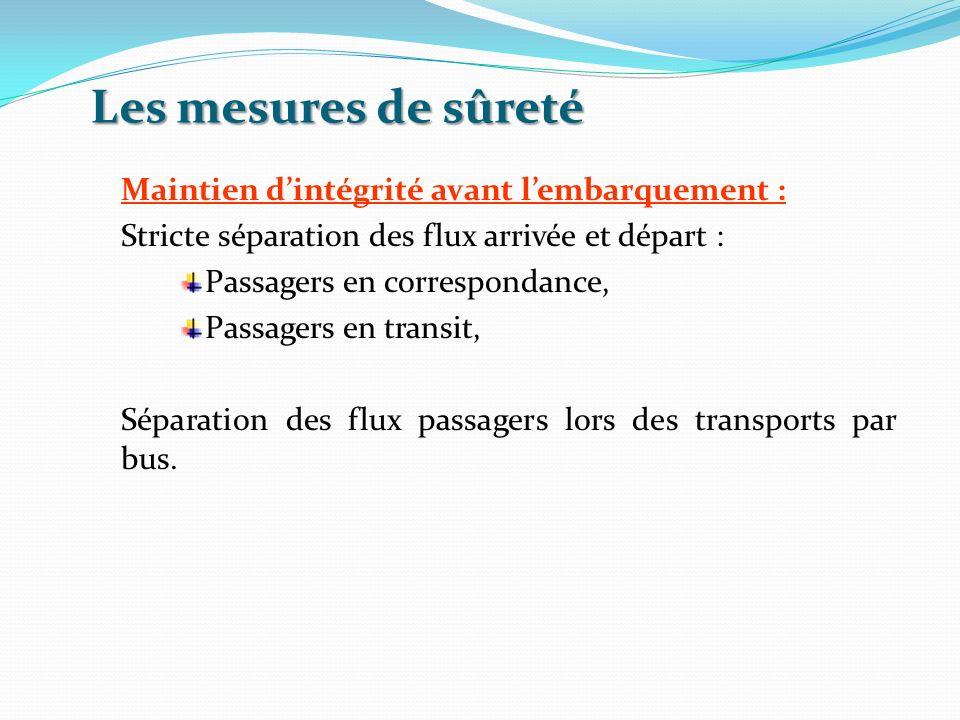 Les mesures de sûreté Maintien dintégrité avant lembarquement : Stricte séparation des flux arrivée et départ : Passagers en correspondance, Passagers